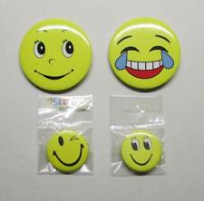 4 Lot HAPPY SMILEY FACE Winking Tears Lapel Hat Tie Tack Pin Button Set NEW