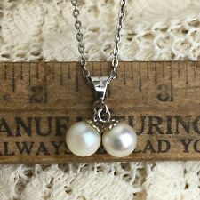 Vintage 70s Pearl Cluster Necklace Sterling Silver 925 Pendant Romantic Preppy