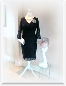 Designer JACQUES VERT Navy Blue MOTHER of the BRIDE Lace Dress-16-Wedding Outfit