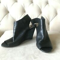 vince camuto women's bootie size 10 black open toe sling back heel leather wedge