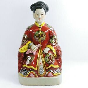 """Asian Figurine Chinese Sitting Red White Garments 15"""" Tall"""