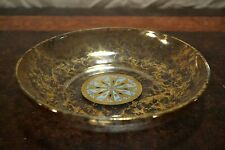 Lovely glass center or console bowl glass w sponged gold lustre & nautical star