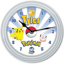 Pokemon Pikachu PERSONALIZED Wall Clock - Pokeball Kids Bedroom - GREAT GIFT