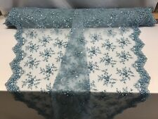 Lace Fabric - Bridal Mesh Aqua With Embroidery Beaded & Sequins By The Yard