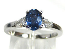 Blue Sapphire Ring 18K white gold Three Stone Natural Ceylon Heirloom $4,347