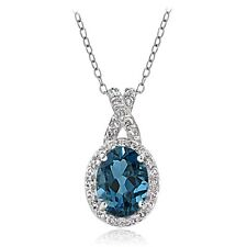 Sterling Silver 2.8ct London Blue & White Topaz X and Oval Necklace