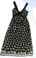 Butterfly Print Maxi Dress Size S UK8-10 Black & White Floaty Long Holiday