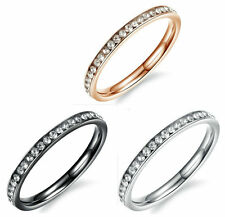 Women Cubic Zirconia Wedding Ring Wife Birthday Anniversary Stainless Steel Band