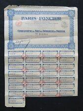 Action 1921 PARIS FONCIER PARIS titre bond share 5