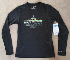 BROOKS Women's Small Black Long Sleeve Runnung Jogging Shirt Vancouver Marathon