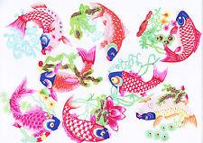 Paper Cuts Common Carp Fish Set 8 colorful small Single pcs Zhou 1 packet Lot