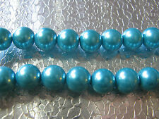 25 Jewel Blue Glass Pearl Beads 10mm Jewelry Finding Beads Round Spacer