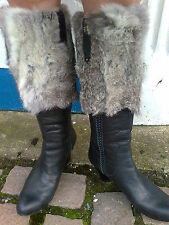 Real Leather Real Fur Trim Boots 7/40 blue black grey top quality designer shoes