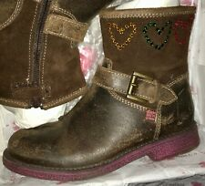 AGATHA RUIZ DE LA PRADA EEUC Girls Rhinestone HEART Ankle Boot SZ-US 13 No Wear!