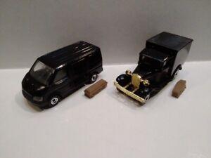 REPAINTED BLACK MATCHBOX MB60 Transit & MB38 Ford VANS as HEARSE Casket /Coffin