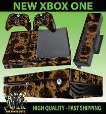 Xbox One Consola Pegatina Steampunk GEARS ENGRANAJES Victoriano Piel & 2 pad