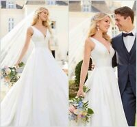 Cheap Simple Beach Wedding Dresses Bridal Gowns V Neck Sleeveless Backless Bride