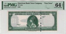 "1929 Specimen American Bank Note Company 10 Units ""TEST NOTE"" PMG UNC 64 EPQ"