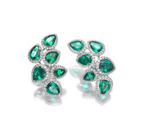 3.00ct NATURAL DIAMOND 14K WHITE GOLD EMERALD WEDDING ANNIVERSARY STUD  EARRiNG