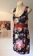 Miss Selfridge ~Old English floral print on black satin type belted dress ~UK 14