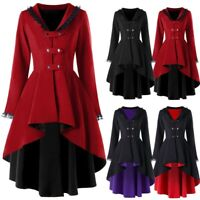 Women Steampunk Lace Gothic High Low Trench Coat Victorian Medieval Jacket Coat