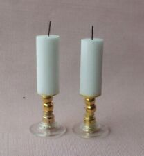 DOLLS HOUSE HANDMADE GLASS BOTTOM  CANDLES WITH WICK