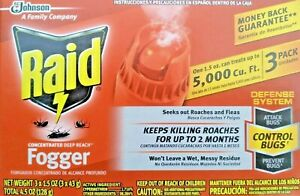 Raid Concentrated Deep Reach Fogger 1.5oz cans 3-Pack Free Shipping