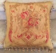 "New SILK Woven Aubusson Floral Pillow French Decor 18""x18"""