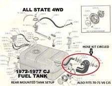 JEEP CJ5 CJ6 1970 - 1975 FUEL AND VENT HOSE KIT 992965K NEW!