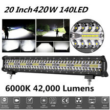 1x 20 Inch 420W 42000LM Off-road Work Light Flood Spot 140LED Light Bar Fog Lamp