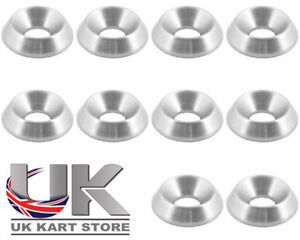 Aluminium Alloy Washers Countersunk M6 Silver Pack of 10 18 x 4 x 6mm CSK Kart