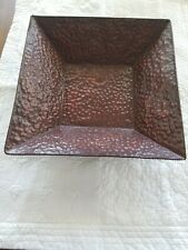 "VINTAGE Copper Metal Hammered Square  Decor Tray 14"" X 14""  Table Decoration"