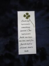 Real Genuine Four 4 Leaf Clover Laminated Lucky Charm Bookmark Shamrock (15)