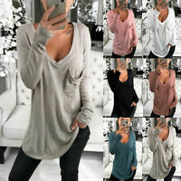 Women Casual V-Neck Long Sleeve Loose Tops Shirt Casual Pocket Baggy Tee T-shirt