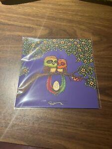 Marq Spusta Two Birds And Their Egg Dark Purple Rubber  Mini Art Print 7x7 Mint
