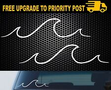 2x Ocean Wave Surf Vinyl Decal Car Window Caravan Mobile Laptop Surfing Sticker