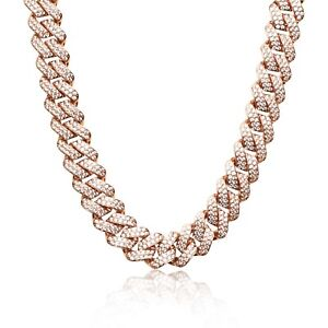 Iced Cuban Link Out Prong VVS Diamond Chain 19mm Necklace 18K Rose Gold Plated