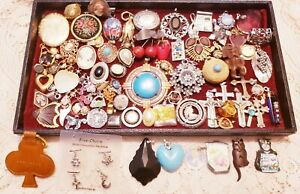 90  Piece Vintage and Modern Charm, Pendant and Jewelry Finding Lot