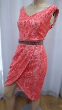 AL Little Mistress Red Coral Pink Beaded waist Lace sleeveless wrap Dress 12uk