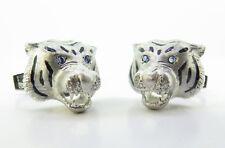 18K Diamond & Sapphire Gentleman's Tiger Cufflinks .A Fine Pair Of E. Wolfe & Co