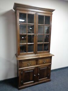 CAN DELIVER VINTAGE OAK DRESSER WITH GLAZED TOP BOOKCASE COUNTRY FARMHOUSE