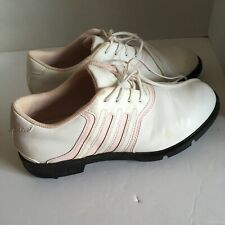 Adidas Z-Traxion Golf Shoes Women's Leather White with Pink Leather Size 8