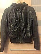 Cuero chaqueta con capucha estilo Religion Pequeño Diseñador