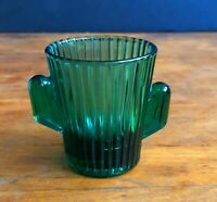 Vintage Cactus Green Teal Glass Tequila Shot Libbey Glass G15