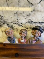 Antique Anri Wood Carved Towel Rack With 3 People Figures Carved in Italian Alps