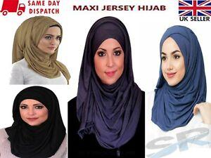 NEW JERSEY STRETCHY SCARF QUALITY MAXI HIJAB SHAWL WRAP PLAIN SARONG UK SELLER