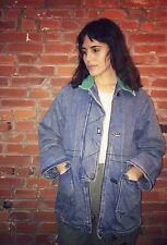 Vintage 80s 90s Denim Jacket Coat Womens Corduroy Collar Front Zip Pockets 1111