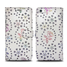 for Apple iPhone 6 6s PU Leather Wallet Book Flip Phone Luxury Pouch Case Cover Metallic Flower White - Glitter Embossed Twinkle