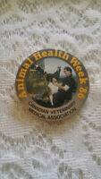 Vintage Pinback Button Pin Animal Health Week 1986 CVMA Vet Assoc