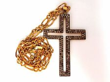 Mens Cross Necklace 4.70ct. Natural fancy color diamonds 14kt 2.5 X 1.7inch Huge